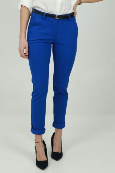 Pantalon brede streep linnen taille