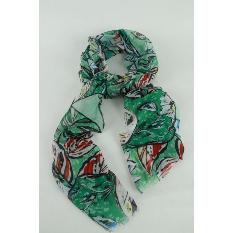 Sjaal met blaadjesprint