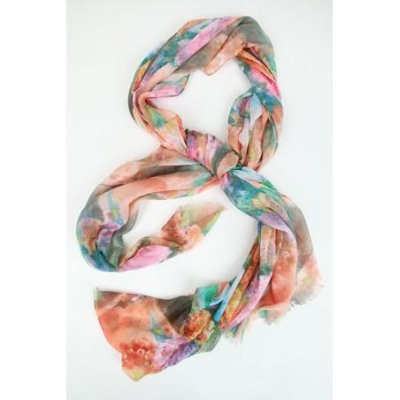 Sjaal met wazig bloementapijt