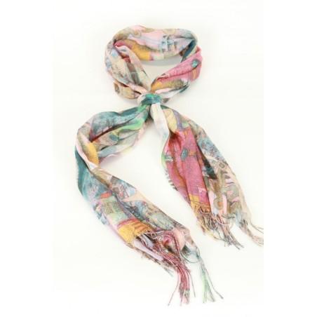 Sjaal bedrukt met patch van figuren