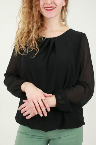Plissé blouse met bladjesprint