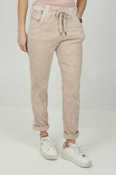 Pantalon lurex zijgalon rektaille