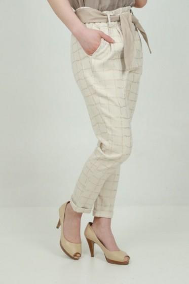 Pantalon fijn gelijnd hoge taille