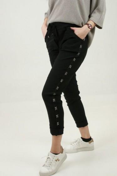 Gebloemde broek hoge taille