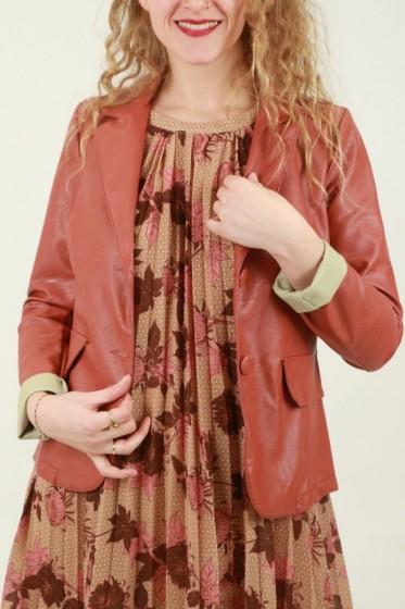 Ecosuèdine jurk met chablonenprint