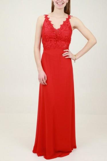 Lange jurk met open hals en klokrok
