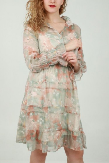 Lange plissé rok met trapeziaprint