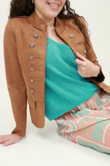 Wollen jas met eco-pels afgeboord